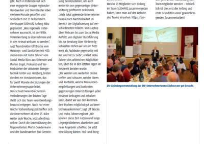 Artikel über BNI Team SÜDHARZ aus dem HARZWind im April 2020