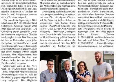 Artikel des Harzkurier über die BNI-Initiative